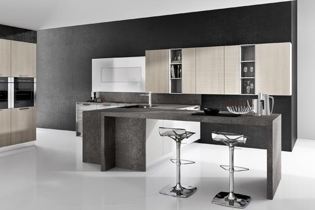 Dise o de cocinas elegantes combina l neas simples en for Modelos de muebles de cocina para espacios pequenos
