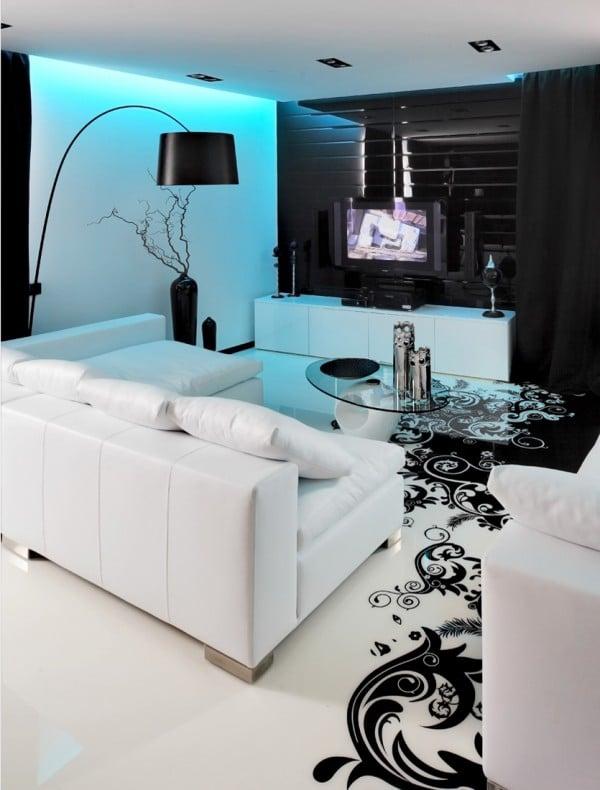 Dise o de moderno apartamento en color blanco y negro for Disenos para el hogar decoracion