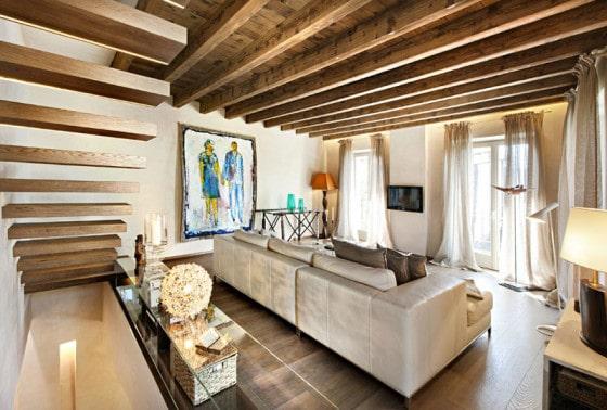 Diseño de interiores de sala rústica y moderna