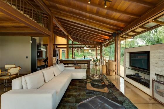 Diseño de interiores sala casa campo