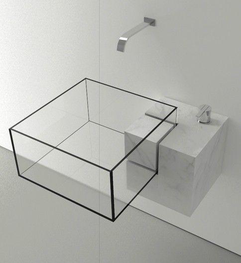 Diseño de lavabo transparente de cristal