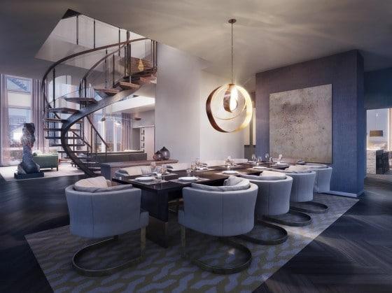 Diseño de moderno comedor en apartamento de lujo