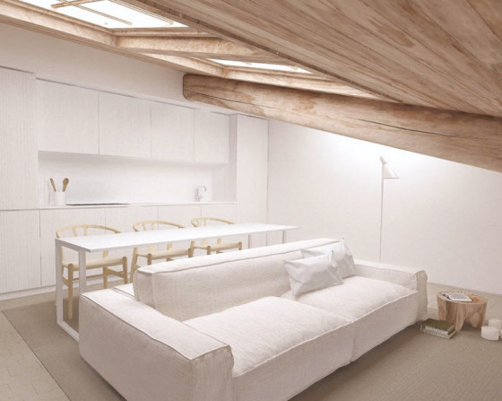 Planos de apartamentos peque os de uno y dos dormitorios - Muebles para comedor pequeno ...