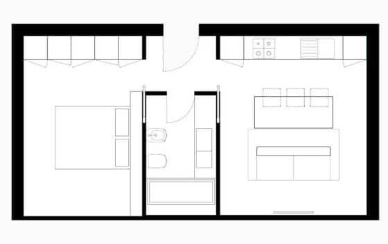 Diseño de plano de pequeño apartamento