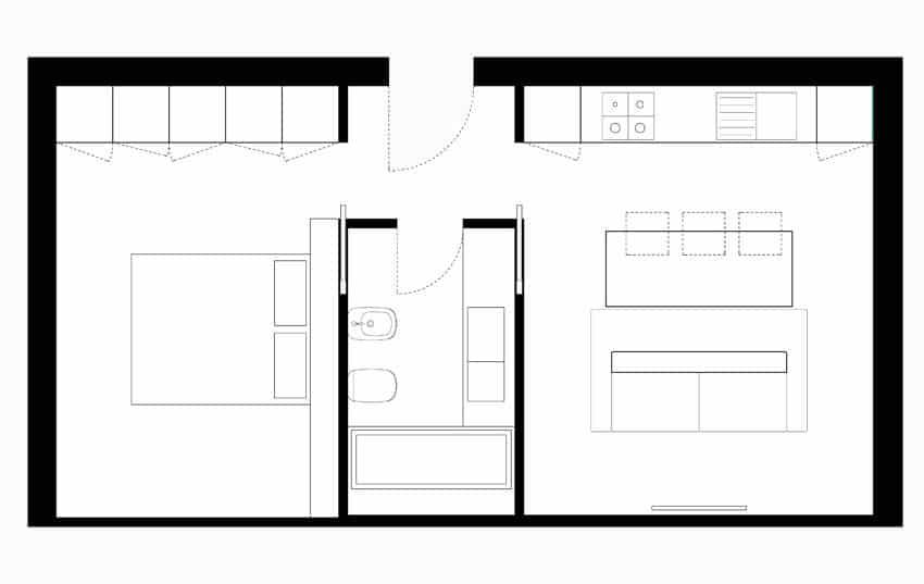Planos de apartamentos peque os de uno y dos dormitorios for Planos y diseno de muebles