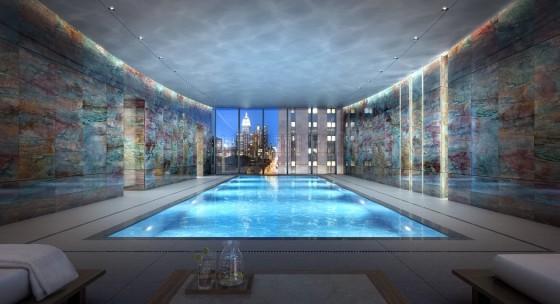 Diseño de piscina en apartamento de lujo