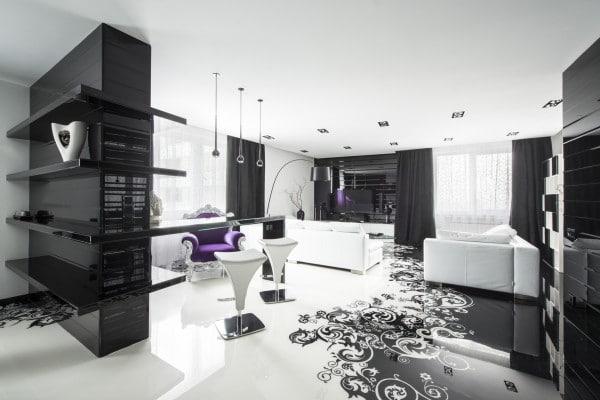 Dise o de moderno apartamento en color blanco y negro for Disenos de interiores en blanco y negro