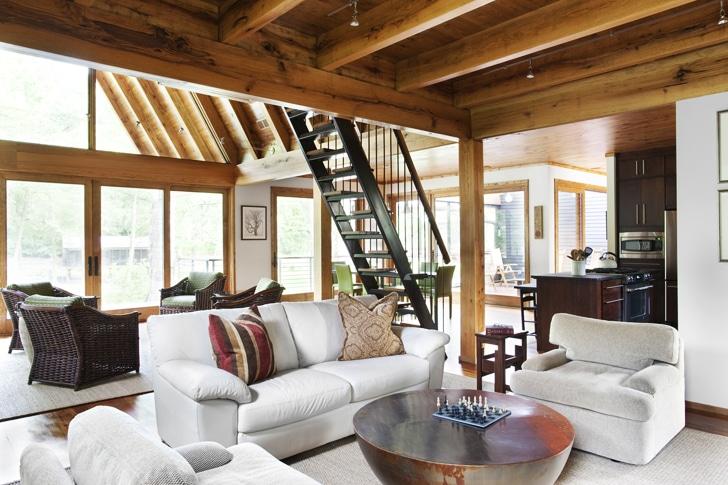 Dise o de casa rural de madera y piedra fachada e interior - Casa rural de madera ...
