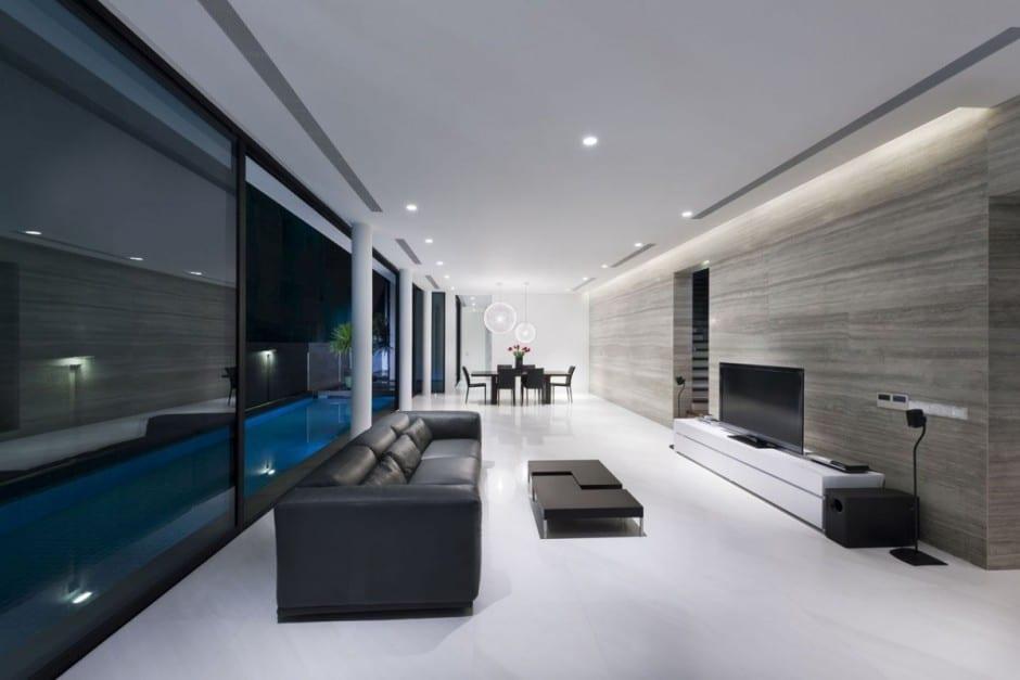 Plano de casa de dos pisos peque a fachada e interiores - Salones de diseno minimalista ...