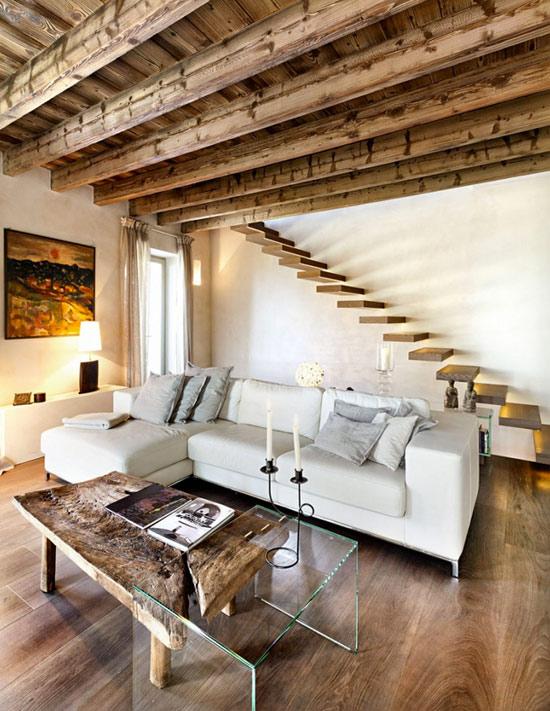 Decoraci n de interiores r stico y moderno combina dise o - Muebles estilo rustico moderno ...