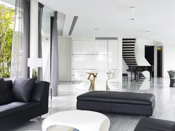 Diseño de sala negro y blanco