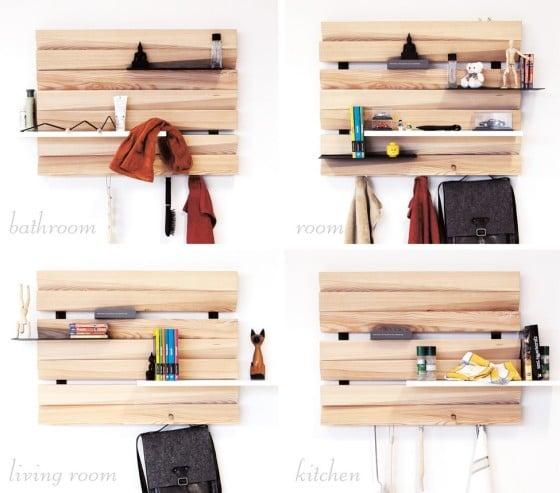 Estantes para libros y objetos diversos