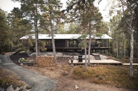 Exterior de casa de madera