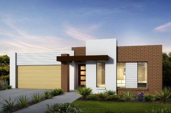 Fachada de casa de un piso con techo planos