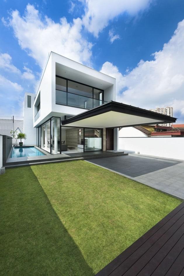 Plano de casa de dos pisos peque a fachada e interiores for Casas pequenas de dos pisos modernas