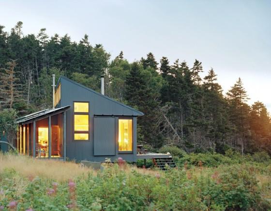 Fachada de pequeña casa de campo rodeada de pinos