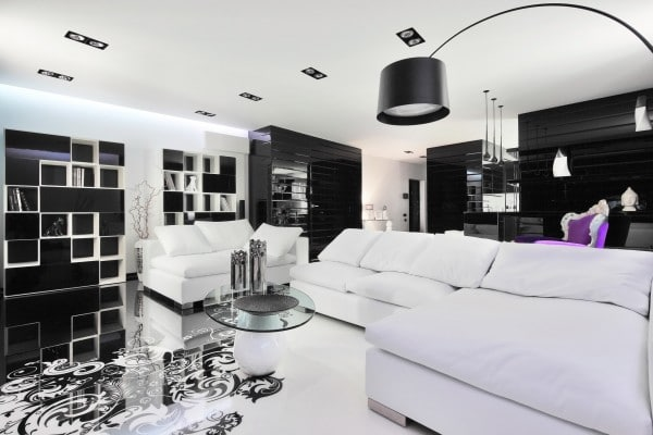 Dise o de moderno apartamento en color blanco y negro for Muebles maison decor