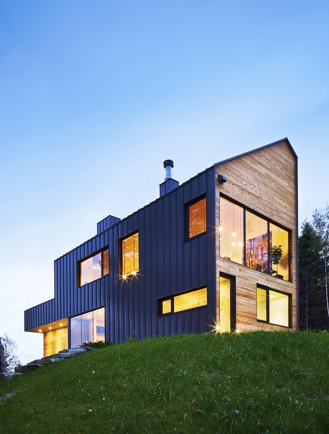Dise o de casa moderna de dos pisos m s s tano planos for Horizontal house plans