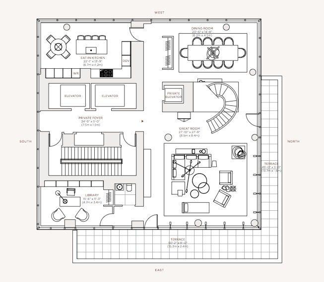 Dise o de apartamento de lujo con decoraci n y planos for Planos de cocina sala comedor