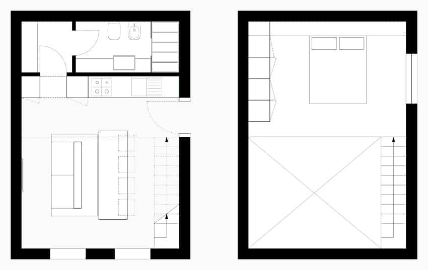 Planos de apartamentos peque os de uno y dos dormitorios for Disenos de apartamentos pequenos modernos