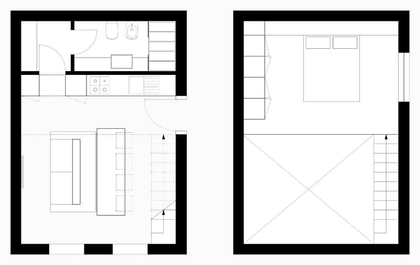 Planos de apartamentos peque os de uno y dos dormitorios for Disenos de apartamentos modernos pequenos