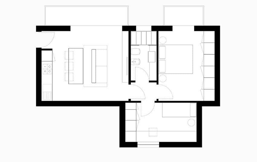 Planos de apartamentos peque os de uno y dos dormitorios for Diseno de apartamentos pequenos