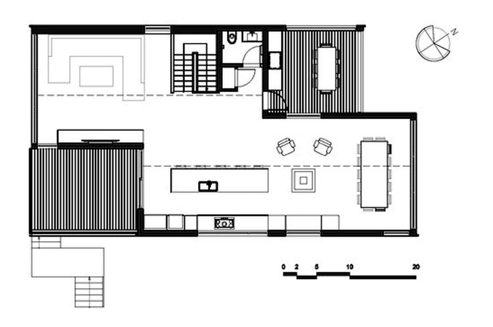 Dise o de casa moderna de dos pisos m s s tano planos for Planos cocinas modernas