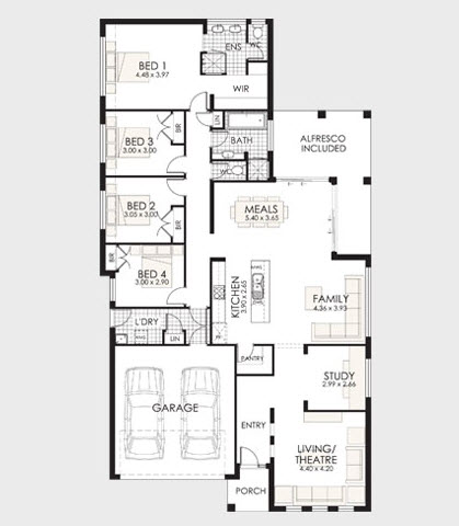 Plano de casa de un piso en terreno largo y poco ancho