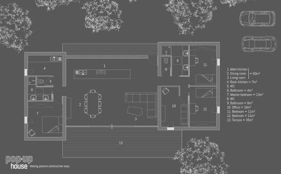Plano de casa pre fabricada pasiva