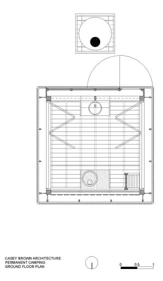 Plano de planta de casa de campamento