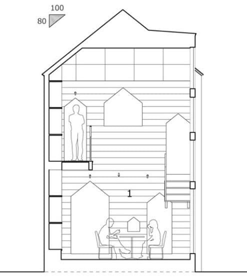 Plano de sección casa de dos pisos