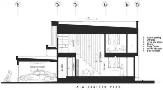 Plano de sección de casa de dos pisos