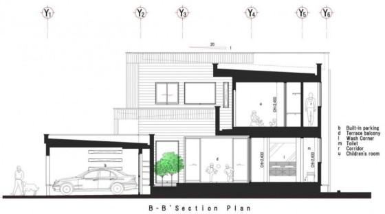 Plano de sección de casa de dos pisos BB
