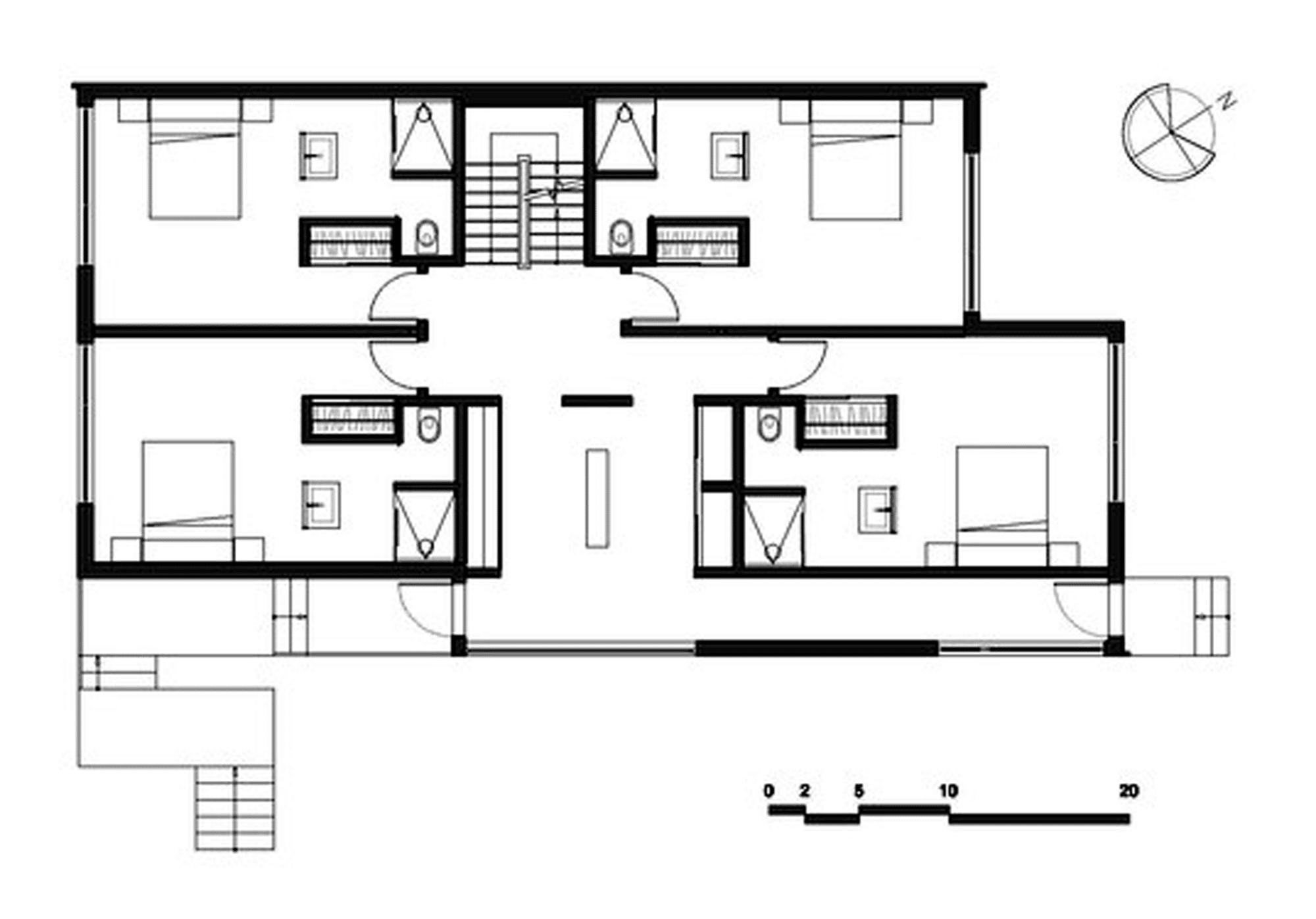 Dise o de casa moderna de dos pisos m s s tano planos for Plano casa un piso