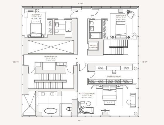 Planos apartamento de lujo, piso 60