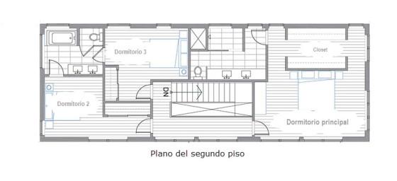 Planos del segundo nivel de la vivienda de madera