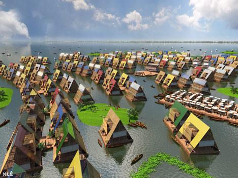 Proyección del pueblo de casas flotantes