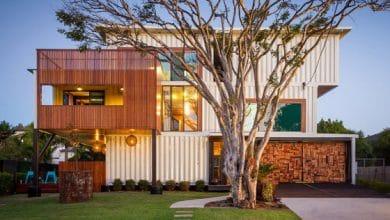 Photo of Diseño de casa con 36 contenedores reciclados, empleo del arte en interiores incluso en la fachada!