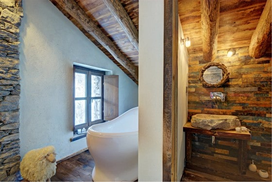 Decoración de interiores baño rústico