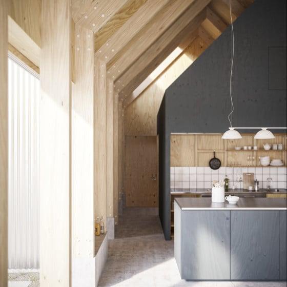 Diseño de cocina de madera