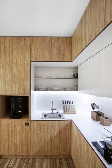 Diseño de cocina pequeña de casa prefabricada