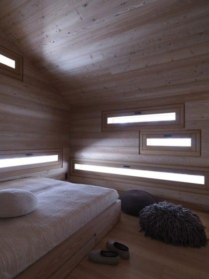 Diseño de dormitorio enchapado de madera