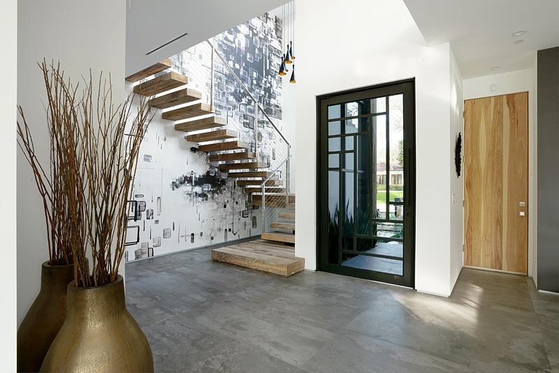 Contemporary Foyer Flooring : Diseño de casa moderna dos pisos fachada e interiores