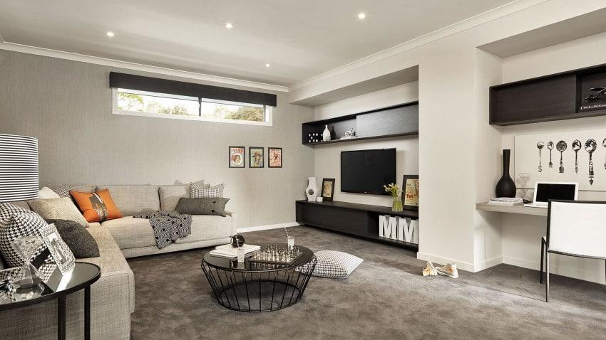 Casa de dos pisos moderna fachada y dise o de interiores for Sala de estar segundo piso