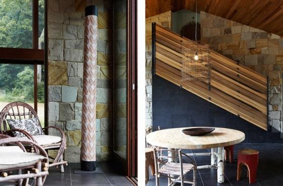 Diseño de interiores natural de casa ecológica