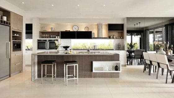 Casa de dos pisos moderna fachada y dise o de interiores for Estructura de cocinas modernas
