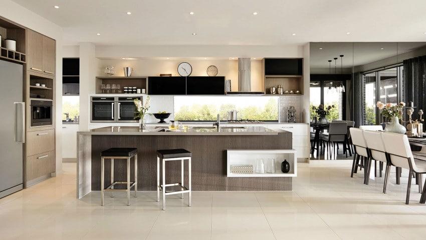 Casa de dos pisos moderna fachada y dise o de interiores for Casa minimalista interior cocina