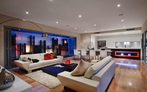 Diseño de moderna sala con iluminación decorativa