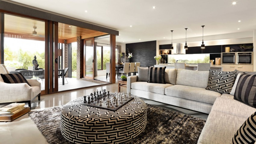 Casa de dos pisos moderna fachada y dise o de interiores for Modelos de casas con terrazas modernas