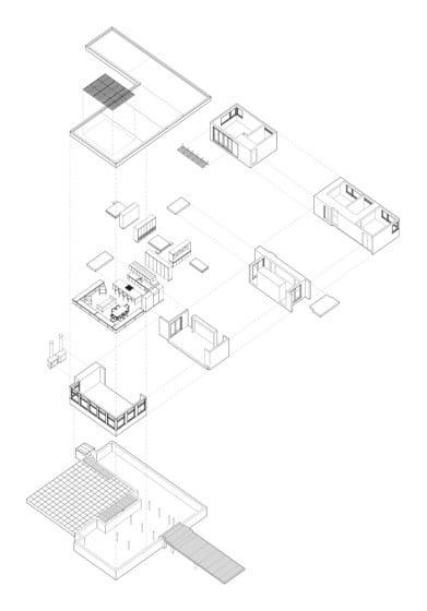 Gráfico de distribución de ambientes casa forma de ele